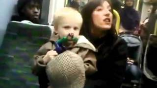 racist woman on  on a london tram tube with a child abusing nearly causes big fight