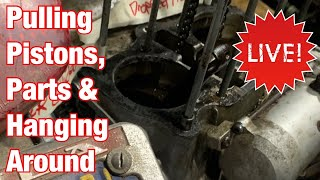 Removing Stuck Pistons, Looking at Old Part & Hanging Around Motorcycle Restoration LIVE Stream