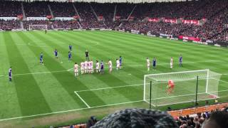 Marcus Alonso strikes the cross bar