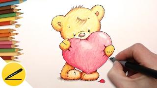 How to Draw a Cute Bear with a Heart ❤ Как Нарисовать милого Мишку с Сердечком