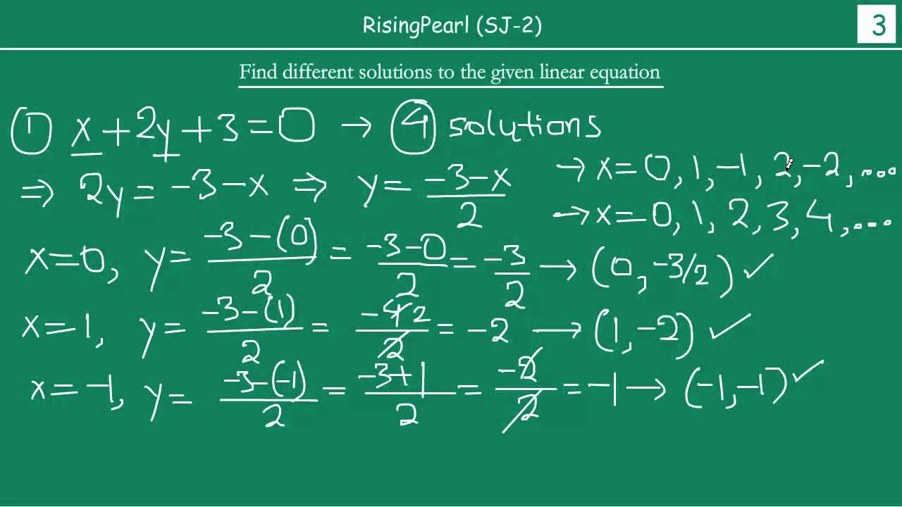 Solving linear equation in two variables (Easy) - YouTube
