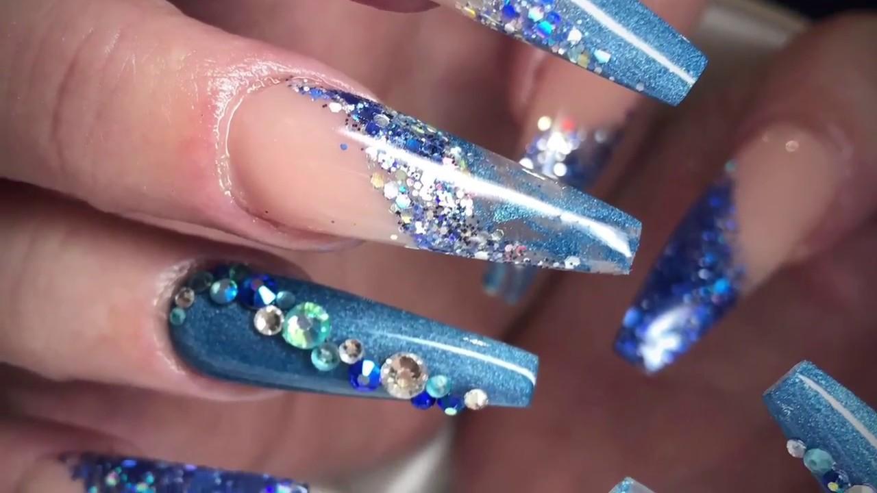 86 Acrylic Nails Coffin Blue Jade Nails 25 Unique Ideas