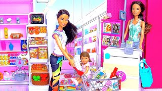 Barbie Girl And Baby Doll Supermarket Toys Shop Play!