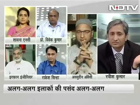 "Asaduddin owaisi in a ""BEEF BAN"" debate on NDTV  with Ravish Kumar"
