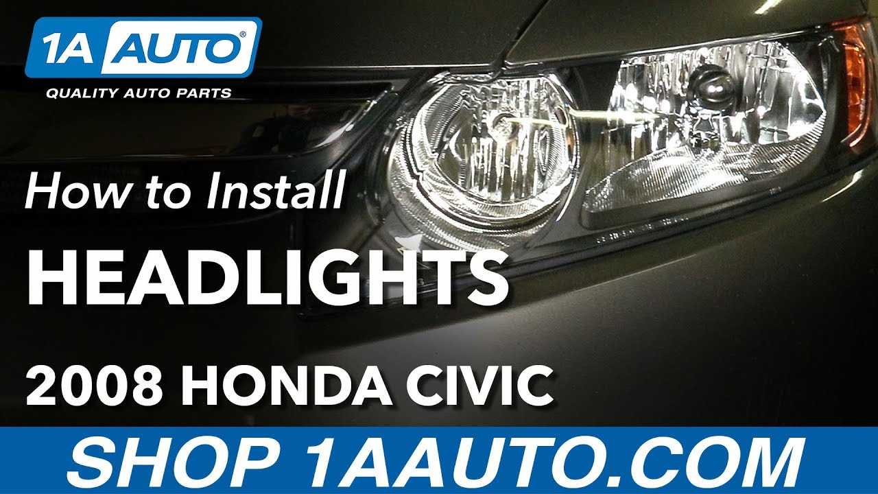 how to replace headlights 06 08 honda civic [ 1280 x 720 Pixel ]