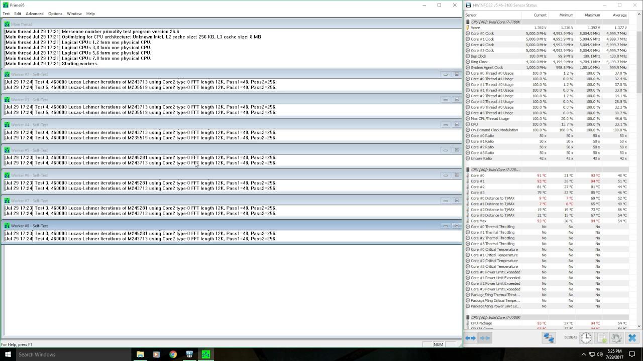 i7 7700K 5 0GHz Prime95 Small FFT Test (Not Delidded)