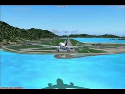 Emirates A330 landing at Seychelles Int. Airport in FS9