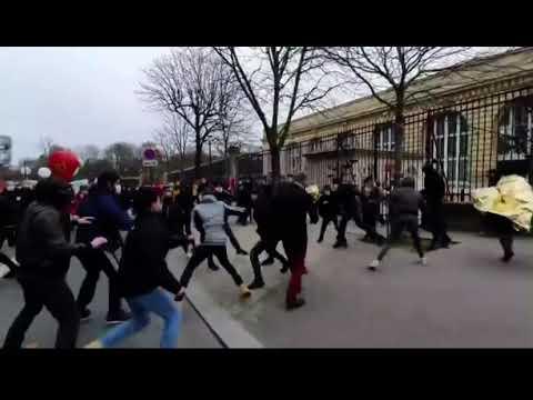 Bagarre générale entre la cocarde étudiante et antifa à Paris 26/01/2021