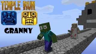 Monster School  GRANNY TEMPLE RUN CHALLENGE - Minecraft Animation