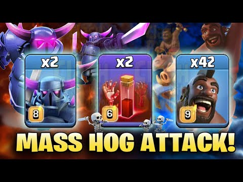 Mass Hog Attack With New Level Skeleton Spell 2019 (After New Update) | Clash Of Clans