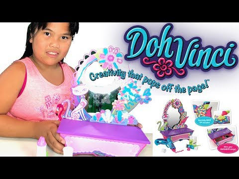 Toy Review Kid Unboxing Doh Vinci Style & Store Vanity Design Kit DIY Design Your Vanity Mirror By H