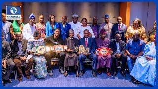 Anthony Joshua Presents Heavyweight Titles To Buhari In UK