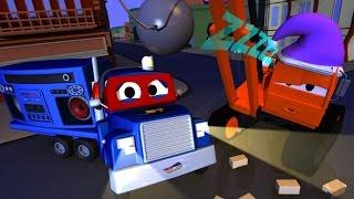 Carl el Super Camión y Dane la grúa demoledora somnámbulo en Auto City | Dibujos animados para niños