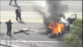 caught on tape people lift burning car off injured man