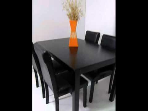 Deltacolchones . Juego de comedor 4 sillas tapizadas. - YouTube