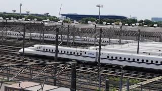 大井車両基地 新幹線N700系の帰庫~出庫シーン