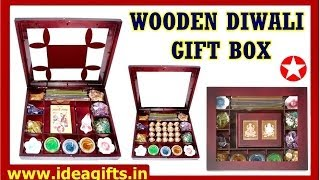 Diwali Wooden Gift Box Set with Incense Sticks, Candles, God Idols and Potpourri.