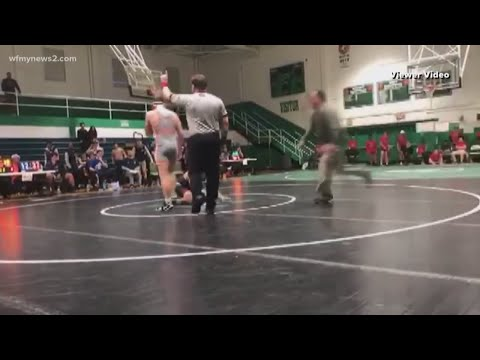 Christie James - Dad Tackles Son's Opponent At High School Wrestling Match