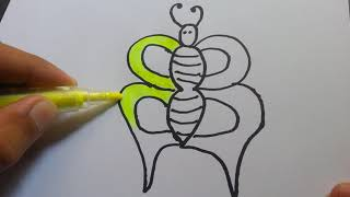 Learn colors and draw butterfly for kids