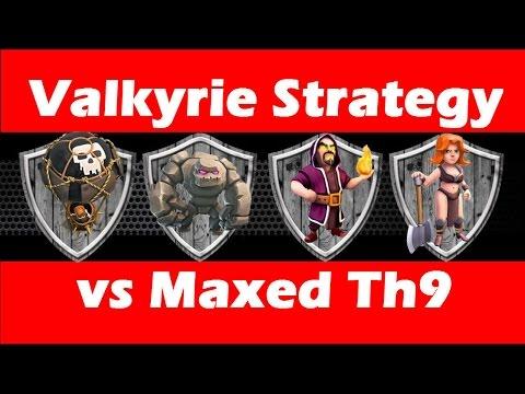 Clash Of Clans - Valkyrie Strategy vs Maxed Defenses TH9 - GoVaHoLo Attack