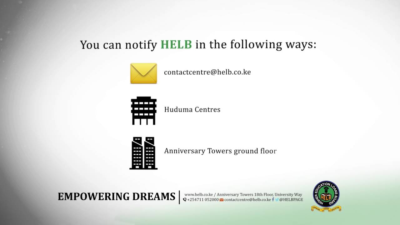 how to change your helb contact information