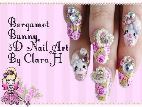 3d Japanese Nail Art Bunnies And Flowers By Clara H Nails Violet