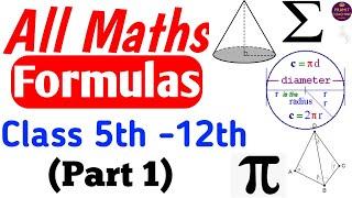 All Maths formulas Class 5th -12th (Part 1)|All Maths Formulas screenshot 1