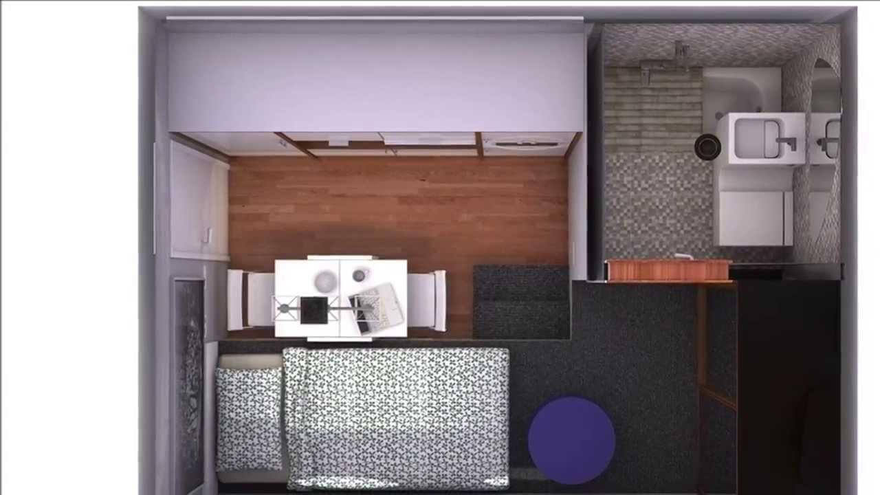 Minipiso universitario 12 m2 4m x 3m youtube for Pisos de 30 metros cuadrados ikea
