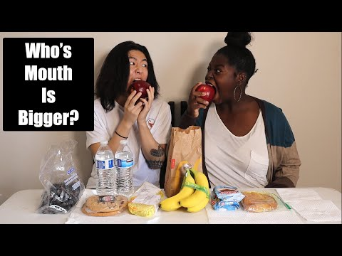 one bite challenge! (who can take the bigger bite?)
