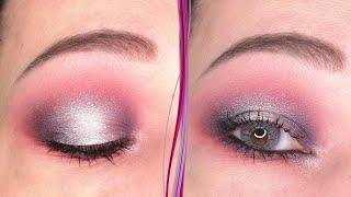 Фиолетовый розовый макияж глаз в стиле Halo eye эффект гало Пошаговый урок