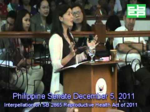 Sen. Sotto Interpellation on SB 2865 Reproductive Health Act of 2011 Sponsor Sen. Pia Cayetano
