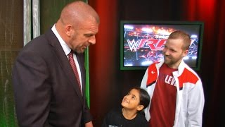 Triple H surprises fans Billy and Bianca backstage at Raw