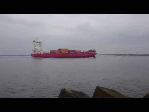 Cargo ship entering Freeport of Riga
