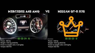 Mercedes A45 AMG vs. Nissan GT-R R35 - the 0-100 km/h duel. Which o...