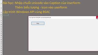 Lập trình VBA ghi chuỗi unicode lên Caption của userform và thêm icon | BSAC