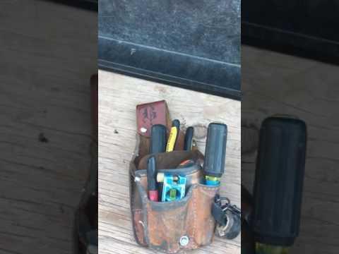 Electrician pouch for bending conduit. Conduit work