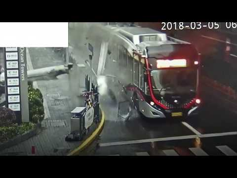 Pillar Falls Off Building, Lands On Moving Bus in Shanghai, China. Watch Shocking Video