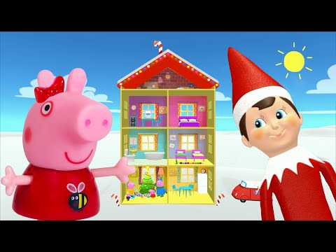 Peppa Pig Game | Elf On The Shelf Hiding in Peppa Pig Christmas Toys | Peppa Pig Family Christmas