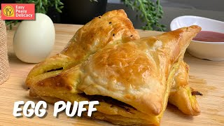 How to make Egg Puff in oven at home  Easy Bakery style Egg Puff  Easy puff pastry appetizer