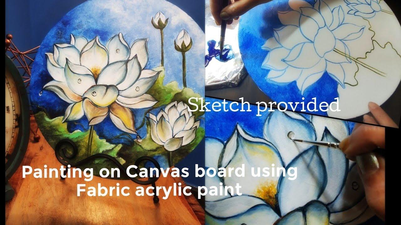 Painting On Canvas Board Using Fabric Acrylic Paint Home Decor Ideas Decorative Art Youtube
