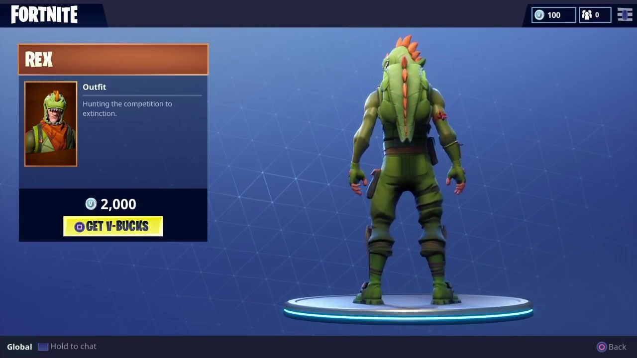 Fortnite Rex Outfit New Dinosaur Character Skin