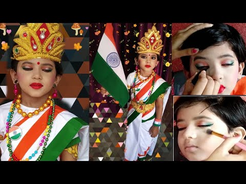 Bharat Mata Makeup And Dress Up Tutorial For Child School Function (fancy Dress) #bharatmata #indian