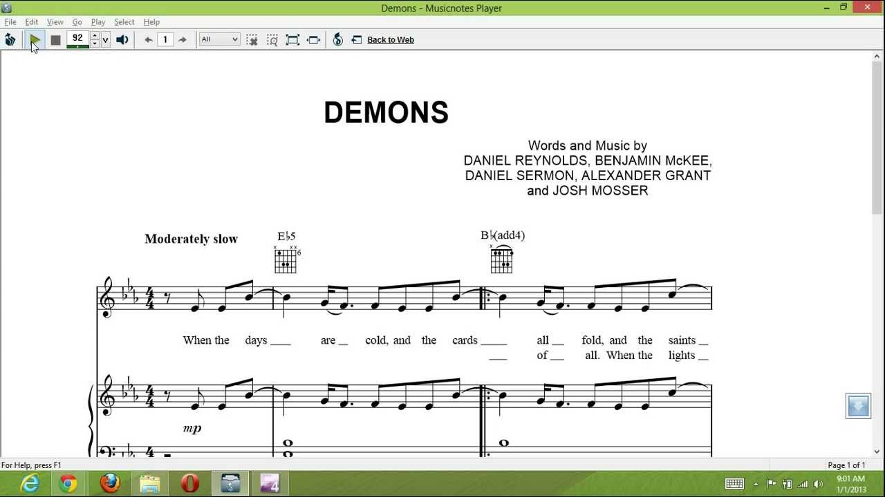 Demons Imagine Dragons Piano Sheet Music T