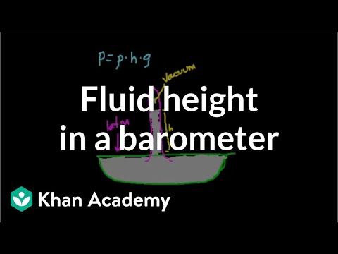 Finding height of fluid in a barometer | Fluids | Physics | Khan Academy