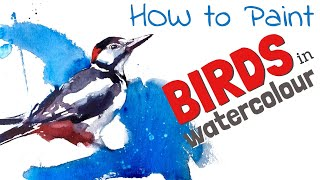 SIMPLE WATERCOLOUR Tutorials on Birds - How to paint a watercolour woodpecker;  Super Quick