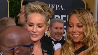 Sharon Stone interviews Mariah Carey at 2018 Golden Globes Red Carpet