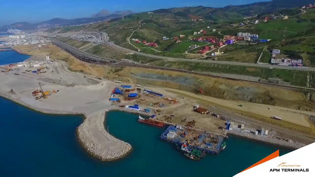 apm terminals medport tangier - drone footage