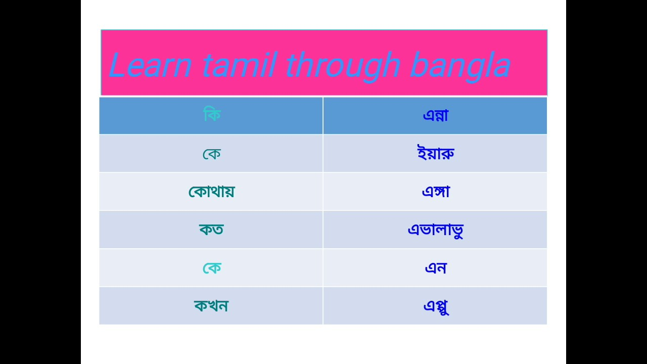 Learn tamil through bangla • Basic part 1