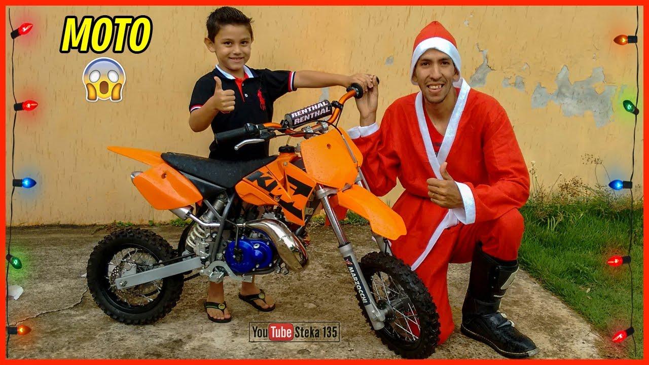 Surpresa Ganhando Uma Mini Moto De Natal Ktm 50 Sx Guilherme 5