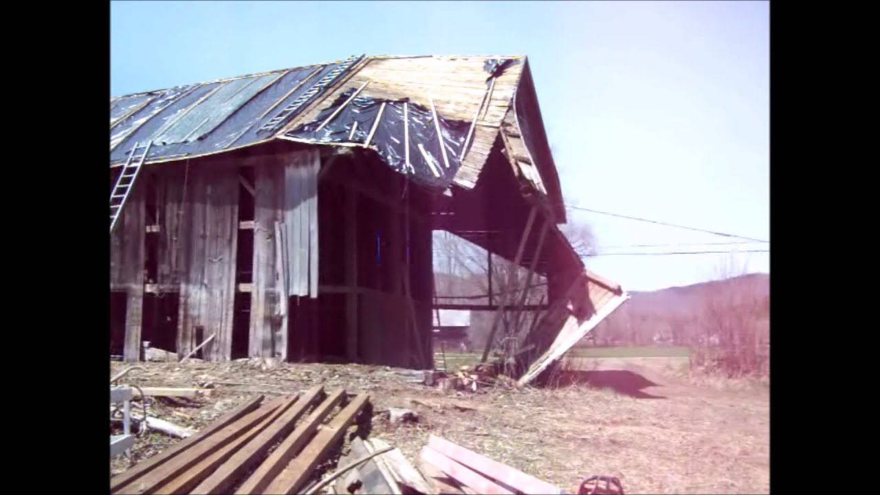 Ira Vermont Historic Timber Frame - Controlled Collapse - YouTube